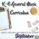 Elementary General Music Curriculum (K-6): September