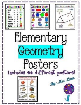 Elementary Geometry Posters (Includes 24 Different Ready-T