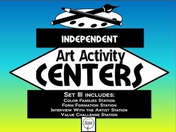Elementary Independent Art Activity Centers Set 3