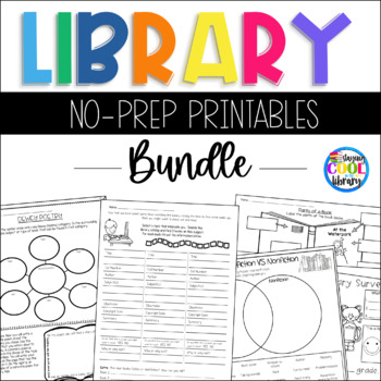 Elementary Library No Prep Printables - Bundle