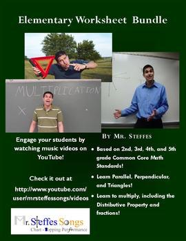 Elementary Math MrSteffesSongs Worksheet Bundle
