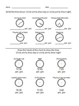 Elementary Math - Time am or pm #2