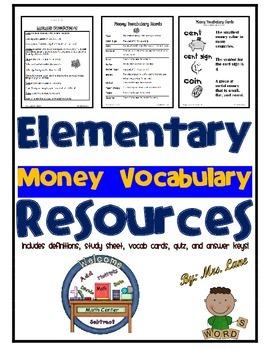 Elementary Money Vocabulary Resources