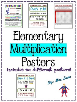 Elementary Multiplication Posters (Includes 21 Different R