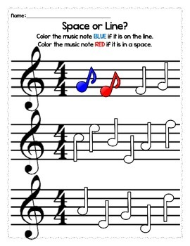 Elementary Music Worksheets - Spaces and Lines