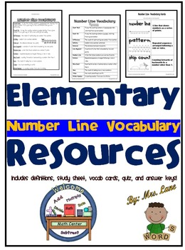 Elementary Number Line Vocabulary Resources