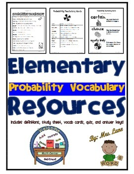 Elementary Probability Vocabulary Resources