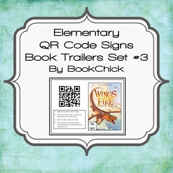 Elementary QR Code Book Trailers Signs Set #3