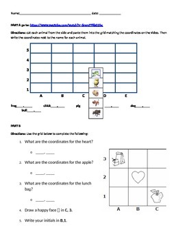 Elementary SS VAAP coordinate grid practice