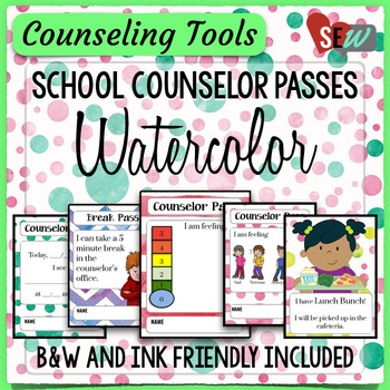 Watercolor Theme Elementary School Counselor Passes