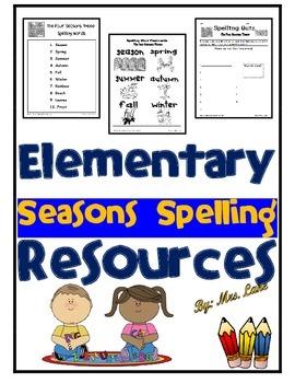 Elementary Seasons Spelling Resources