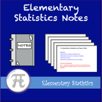Elementary Statistics Lecture Notes and Notebooks - Full Y