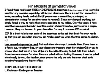 Elementary Students Reward Strips - Incentives