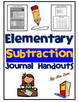 Elementary Subtraction Journal Handouts
