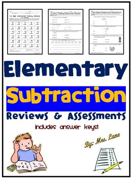 Elementary Subtraction Reviews and Assessments