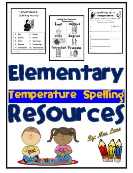 Elementary Temperature Spelling Resources