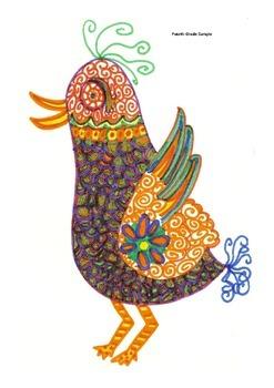 Elementary Visual Art Project - Beautiful Bird