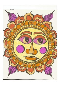 Elementary Visual Art Project - Suns with art starts