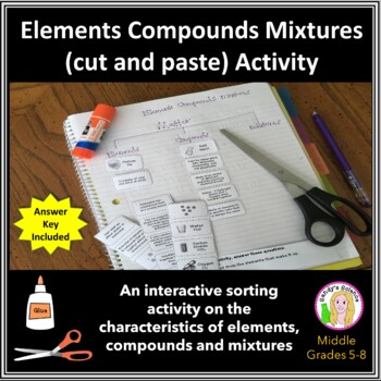 Printables Elements Compounds And Mixtures Worksheet elements compounds mixtures cut paste by sandys science activity