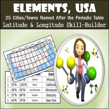 Latitude & Longitude Worksheet - Elements, USA
