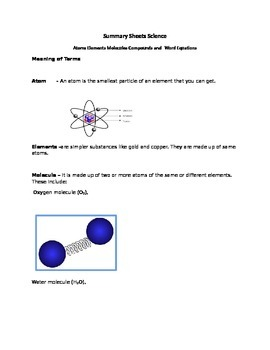 Elements compound mixtures and chemical word Equations Sum