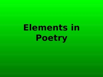 Elements in Poetry