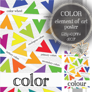 Elements of Art (Color): Large, Printable Poster, Classroom Decor