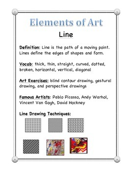 Elements of Art - WORD WALL Handout for Students, Teachers
