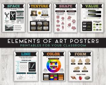 Elements of Art Printable Posters, Set of Art Classroom Pr