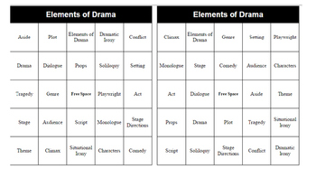 Elements of Drama Bingo