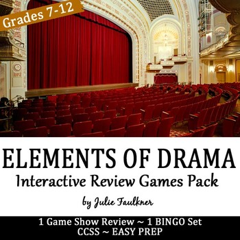 Elements of Drama Games Pack, Game Show and Bingo, Easy Pr