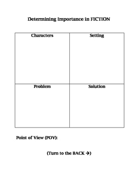 Elements of Fiction graphic organizer DETERMINING IMPORTAN