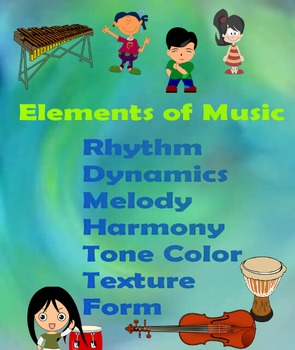 Elements of Music Green and Blue Poster