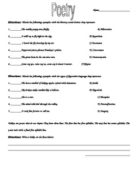 Worksheets Poetry Worksheets poetry worksheets vocabulary match worksheet