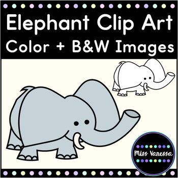 Elephant Clip Art ~ Black Line & Color Images Included