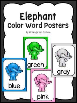 Elephant Color Posters (Standing Elephants)