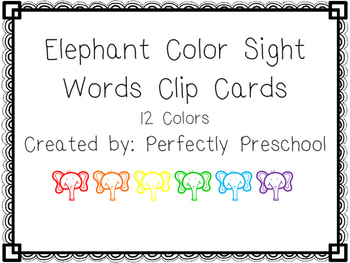 Elephant Color Sight Word Clip Cards