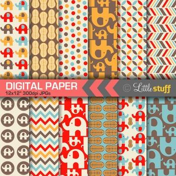 Elephant Digital Papers - Red/Blue/Orange/Brown