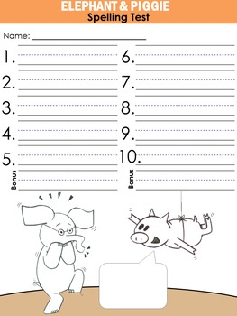 Elephant & Piggie themed Spelling Test pages