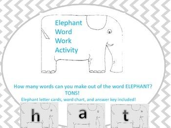 Elephant Word Work Activy