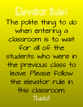 Elevator Rule Classroom Poster- Yellow
