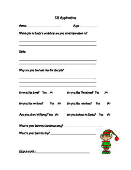 Elf Application & Writing Paper