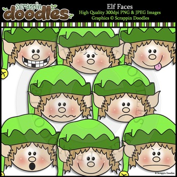 Elf Faces Clip Art & Line Art