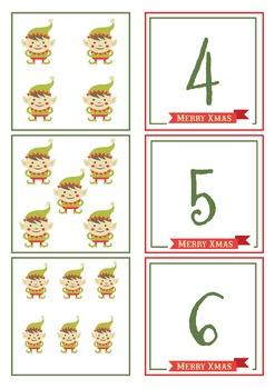 Elf Number Match Cards 1 - 20