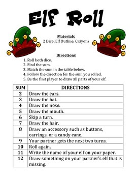 Elf Roll - A 2-Player Christmas Math Activity
