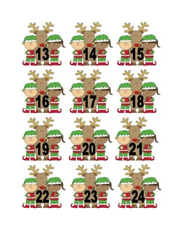 Elf and Reindeer Numbers for Calendar or Counting Activity