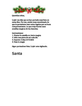 "Elf on the Shelf -IN SPANISH ""Magic Seeds letter"""