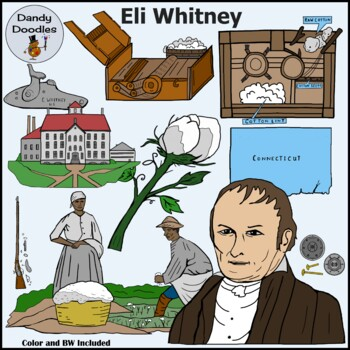 Eli Whitney Inventor Clip Art by Dandy Doodles