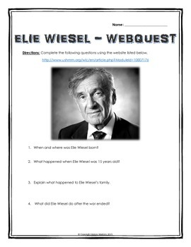 Elie Wiesel (Night) - Webquest with Key (His Life and Legacy)