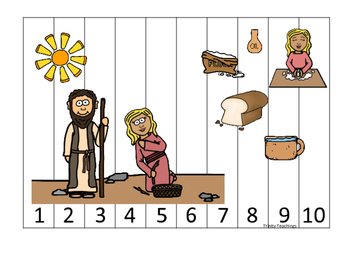 Elijah and the Widow 1-10 Sequence Puzzle printable game.